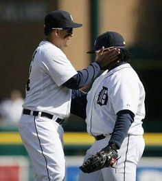Miguel Cabrera celebrates with Prince Fielder after the Tigers beat the Yankees 8-3 for Opening Day at Comerica Park Friday, Apr. 5, 2013.
