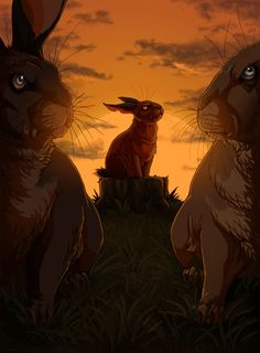 The Great Patrol, finished, with the rabbits of Efrafa (Groundsel, General Woundwort and Campion).