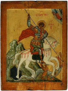 St George and the Dragon ~ by Andrei Rublev ~ First half of the 16th century ~ The Andrei Rublev Museum of Early Russian Art, Moscow, Russia ~ Rublev was a monk in the Trinity-St. Sergius Monastery, and a devout follower of St. Sergius. He took a vow of silence and poured his passions and obsessions into his paintings. His style is characterized by a highly formalized, linear Byzantine style. He is considered one the greatest Russian icon painter of all time.