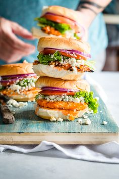 Frank's RedHot® Sauce marinaded buffalo chicken with Treasure Cave® Blue Cheese for the ultimate sandwich!
