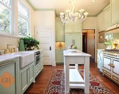 kitchen with seafoam and grey | sea foam green cabinets #kitchen #traditional