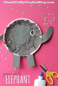 Paper Plate Elephant – Kid Craft Pappteller Elefant – Kid Craft Fun Activities for Kids Paper Plate Art, Paper Plate Animals, Paper Plate Crafts For Kids, Paper Plates, Paper Plate Masks, Paper Art, Craft Kids, Daycare Crafts, Classroom Crafts