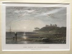 Vintage antiquarian original steel engraving, c. 1830. Llanstephan Sands, Carmarthenshire Vintage original handcoloured steel engraving . View after the drawing of H. Gastineau. Mounted in passepartout and wrapped in plastic cover.   https://nemb.ly/p/rJyZ9aYYe Happily published via Nembol