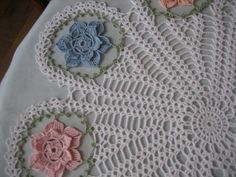 Crochet floral doly table center made by Demet pastel by DEMET Crochet Dollies, Crochet Doily Patterns, Thread Crochet, Peach Colors, Pastel Colors, Popular Crochet, Table Centers, Crochet Home, Doilies