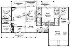 First Floor Plan of Country   Farmhouse  Ranch   Southern   House Plan 59029