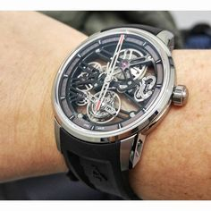 26350 CHF will get you the good looking and very comfortable to wear @angelus_watches UB40 Flying Tourbillon Skeleton. #angelus #angeluswatches #flyingtourbillon #skeletonwatches #baselworld2016 #mybaselworld #horologiumbaselworld #watches #timepiece #horology #horlogerie #hautehorlogerie #tourbillon #watchmovement #montres #uhren #reloj #horologium #wristshot #womw by thehorologium