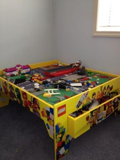 Transform a train table into a lego table with drawer for storage