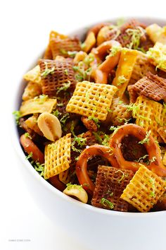 Healthy Snack Ideas | Tequila Lime Chex Mix.