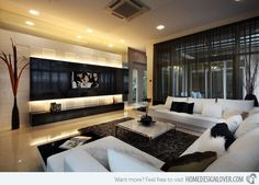 Modern residence with integrated television