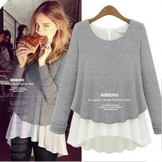 Spring autumn&winter, European style plus size elegant fashion knitted chiffon thick long sleeve ladies t shirt, women's top  $19.89