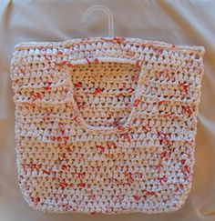 Clothes Pin Bag using Plarn. (The pattern is for crocheting but I can knit something up). Good upcycle project!!!
