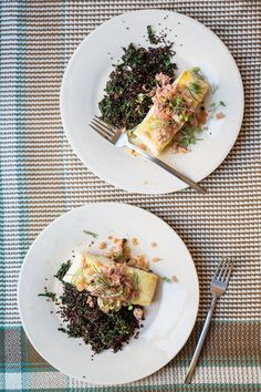 Grouper in Crab Sauce with Black Quinoa and Pickled Fennel | Saveur