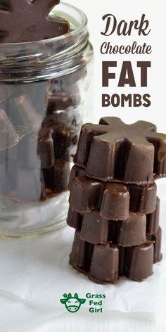 Dark Chocolate Fat Bombs | http://www.grassfedgirl.com/low-carb-ketogenic-fat-bombs-dark-chocolate/