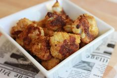 """""""Cheesy"""" Baked Cauliflower Poppers (Dairy Free)"""