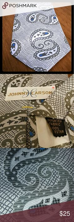 Vintage Johnny Carson Kipper Tie - Donald Trump Vintage Johnny Carson brand necktie wide at base like a Kipper tie. The style Donald Trump wears. This is vintage 100% polyester made of imported fabric. Beautiful condition. johnny carson Accessories Ties