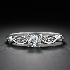 PERFECT!!!!  DREAM RING!!!!Petite Diamond Engagement Ring - 10-1-4648 - Lang Antiques 1930s Old mine cute