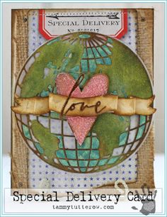 Tammy Tutterow Special Delivery Card   www.tammytutterow.com using Tim Holtz, Ranger, Sizzix and Stamper's Anonymous products; Feb 2015