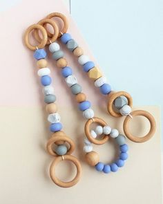 Set of 3 Wooden Baby Play Gym Toys Hanging Baby Gym Toys Bebe Gym, Wood Baby Gym, Kids Gym, Diy Bebe, Play Gym, Dummy Clips, Baby Teethers, Teething Toys, At Home Gym