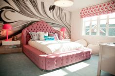 Melanie Morris Design - girl's rooms - gray blue rug, pink tufted bed, pink button tufted bed, pink button tufted upholstered bed, modern wh...