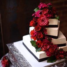Fresh Red And Black Rose Cake Topper