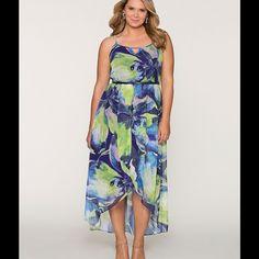 Maxi Dress Floral hi low maxi dress with skinny belt. Size 22/24 Lane Bryant Dresses Maxi