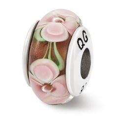 Sterling Reflections Light Pink Flower Hand Blown Glass Bead