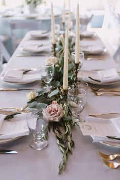 Floral & Greenery for long, rectangle table. Wedding reception inspiration.