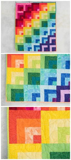 Rainbow Reflections Collage Rainbow quilt kit by Craftsy.  Jelly roll   quilt pattern.  Classic log cabin quilt block in a modern rainbow   gradient.  Affiliate link.