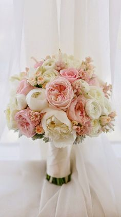 Blush Pink and White Peony Bouquet // roses, classic, traditional, romantic, bride, wedding, bridal