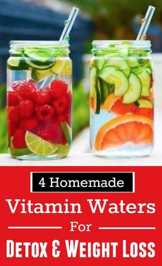 4 Homemade Vitamin Waters For Detox & Weight Loss - Life on Hands How To Detox Your Body Naturally, Lose Weight Naturally, How To Lose Weight Fast, Losing Weight, Weight Loss Water, Weight Loss Detox, Healthy Detox, Healthy Eating, Eating Clean