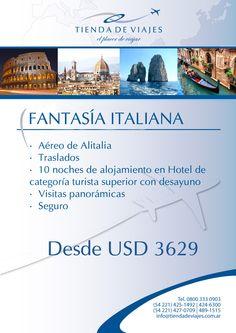 #Italia Tarifas por persona en base doble expresadas en dólares. Sujetas a modificaciones. Consultar.