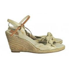 Monsoon gold fabric wedges with knot feature & slingbacks size 7 ( 40 )