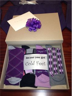 Groom S Gift From Bride I Should Add That The Has A Thing For Quirky Socks And Purple Was In Our Color Scheme He Could Choose Which Pair