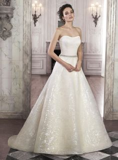 floral patterned organza scoop neck ball gown wedding dresses