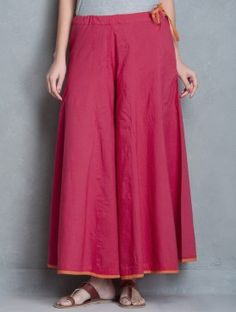 Dark Pink-Orange Tie-Up Waist Cotton Palazzos