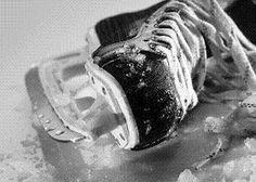 Playing hockey and skating
