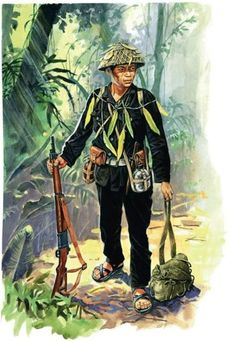 Guerrillero del viet-min by Marek Szyszko, pin by Paolo Marzioli Vietnam Protests, Vietnam War, Military Art, Military History, Military Insignia, Military Uniforms, North Vietnamese Army, First Indochina War, Good Morning Vietnam