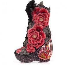 Irregular Choice, 'Maya', birdcage wedge boot, black, red