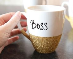 Up your morning coffee game with this easy, DIY glitter mug.