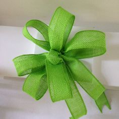 Green burlap jute bow wedding pew bows, tables chair decor, candy buffet,  package topper