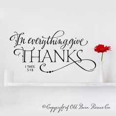 New Vinyl Wall Decal - In everything give thanks - lettering art design. $19.00, via Etsy.