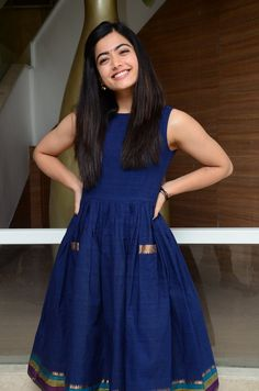Actress Rashmika Mandanna At Dear Comrade Movie Launch Source by actressviralnews Long Gown Dress, Sari Dress, Frock Dress, Kalamkari Dresses, Ikkat Dresses, Frock Design, Casual Frocks, Casual Dresses, Frock Fashion