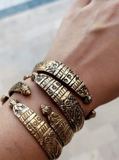 Gold plated hand carved bangle set. Custom made bracelet- Hand carved adjustable cuff bracelet- Gold jewelry- Custom jewelry- Stackable cuff Tribal Bracelets, Tribal Necklace, Hair Jewelry, Gold Jewelry, Gypsy Rings, Bangle Set, Bohemian Jewelry, Custom Jewelry, Turquoise Bracelet