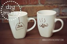 DIY Mugs from the Dollar Tree: Using DecoArt Glass Pens not Sharpies)...from http://www.astepinthejourney.com