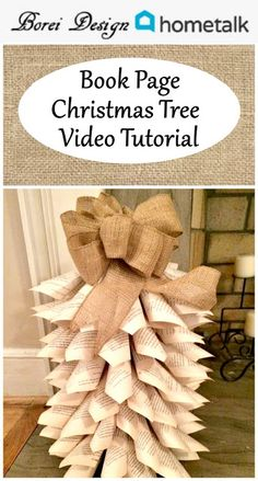How to make a mini recycled book or other paper Christmas tree includes written and live video craft tutorial. Yule Crafts, Book Crafts, Holiday Crafts, Holiday Decorations, Paper Crafts, Diy Craft Projects, Craft Tutorials, Diy And Crafts, Upcycling Projects
