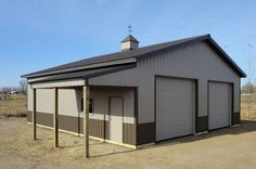 Burnished slate with small eave lean-to - Pictures - Building quality pole barns, pole buildings, and storage buildings in Minnesota, Wisconsin, and North Dakota.