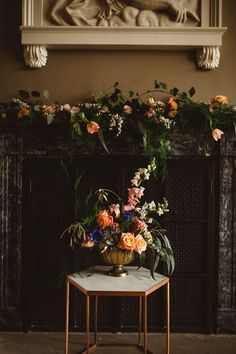 Urn table centerpiece in a gold container featuring bright summer colours. Captured by Shelley Richmond Photography Art Wedding Themes, Wedding Decorations, Wedding Ideas, Floral Wedding, Wedding Flowers, Wedding Bells, Library Wedding, Wedding Flower Arrangements, Floral Arrangements