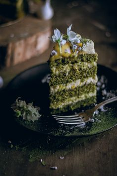 Matcha Velvet Cake with Passion Fruit Curd and Cream Cheese Frosting. Layers of matcha-liciousness! #matcha #dessert