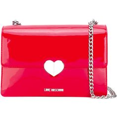 Love Moschino logo heart shoulder bag (3,355 MXN) ❤ liked on Polyvore featuring bags, handbags, shoulder bags, heart shaped purse, red shoulder bag, love moschino shoulder bag, shoulder bag handbag and shoulder hand bags
