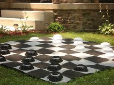 Lawn checkers for Alice in Wonderland party...